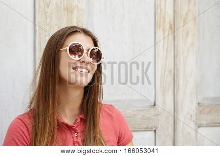 Attractive Young Caucasian Woman Student Smiling Joyfully With Her White Teeth, Relaxing At Home Aft