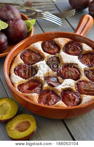 Cottage cheese pie with plum sprinkled with powdered sugar, vertical