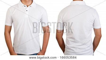 White t-shirt on asian young man isolated on white front side and back side with copy space for text design and logo.