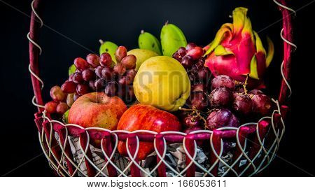 Fruits on basket,eating healthy, vitamin, mixed, juice