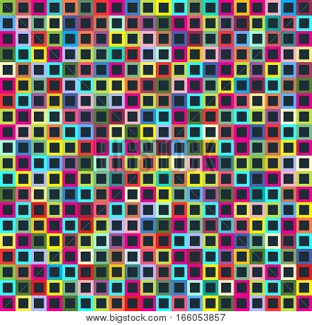 Geometric Seamless Pattern Of Square, Abstract Background. Checkered Design, Bright Multicolored Squ