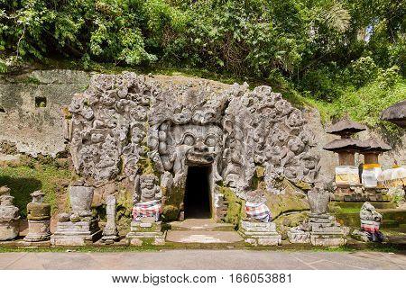 Goa Gajah Cave at Pura Goa Gajah Temple (the Elephant Cave Temple). Ubud Bali island Indonesia.