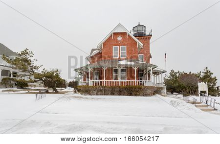 The Sea Girt Lighthouse in Sea Girt New Jersey USA. This lighthouse flashed its first light December 10 1896.