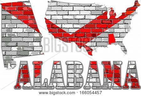 Alabama on a brick wall - Illustration, Alabama Flag painted on brick wall, Font with the Alabama flag,  Alabama map on a brick wall