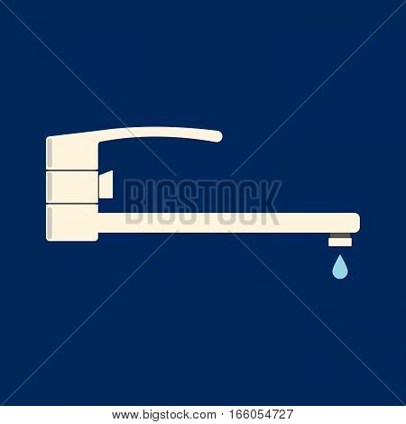 Faucet Vector Icon. Flat Logo Faucet From Bathroom . Vector Illustration.