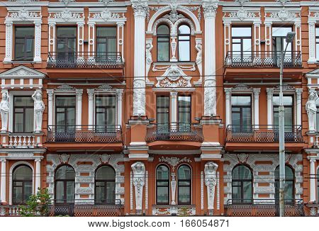 Old building in Kyiv in downtown, Ukraine