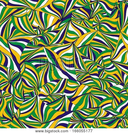 Abstract Brazil flag. Abstract colorful graphic seamless pattern. Hand-drawn ornament of doodle waves and lines. Background in the style op art optical illusion. For wallpaper textiles fabric