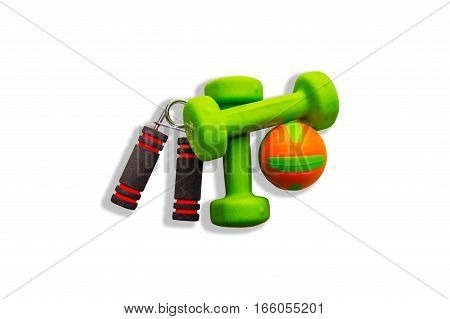 Two of dumbbells with the simulator for hands Isolated on white background