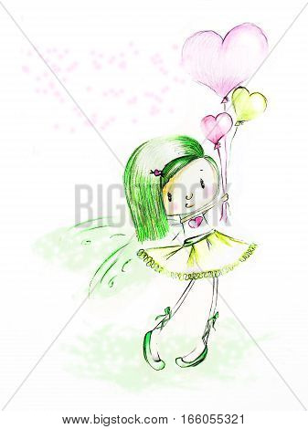 Sketch - green-haired girl with heart air balloons