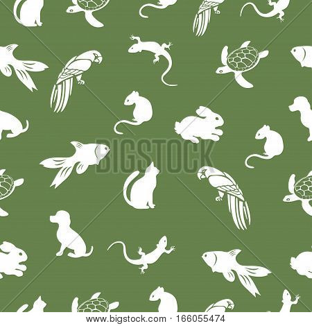 The parrot turtle cat dog rabbit mouse fish lizard seamless pattern animal vector background. For fabric design pet shop animal lovers wallpaper wrapping print paper decoration