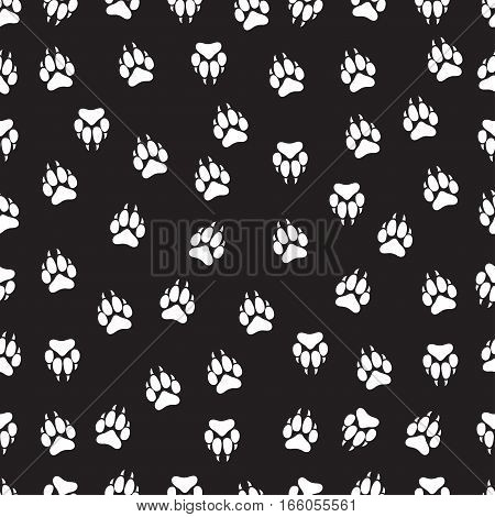 Imprint Animal Paws With Claws, Footprint Seamless Pattern,  Vector Background, Black And White Illu