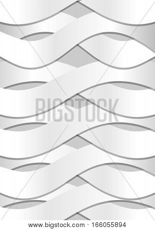 Abstract background with white cambered wavy paper strips and fine shadows on light gray background
