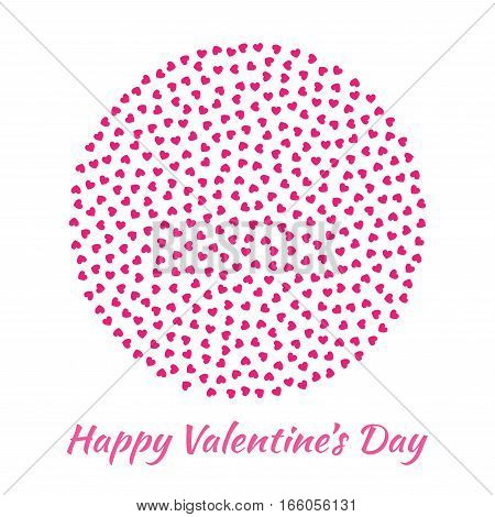 Abstract Vector Elegant Circle Sphere Round with small pink Hearts for Valentines Day card Background Design. Wedding Invitation Card. Logo emblem for health care, medical, treatment.