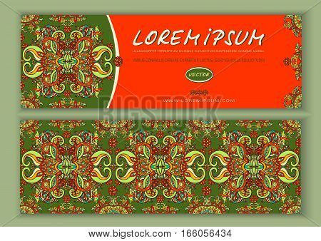 Vector Banner Templates With Abstract Ethnic Patterns. Double-sided Flyer, Card, Invitation  Floral
