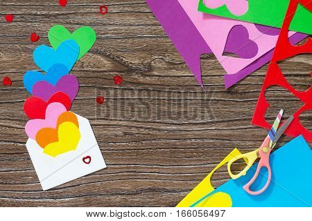 Greeting Frame Birthday Or Valentine's Day. Heart From Paper Rainbow Envelope. Declaration Of Love.