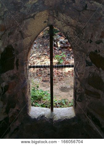 Look outside of an old castle window