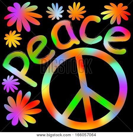 International symbol of peace disarmament anti-war movement. Grunge street art design in hippies rainbow colors inscription peace. Vector image on radiating background. Retro motif of hippies movement