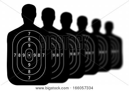 many target shooting range , isolated on white background