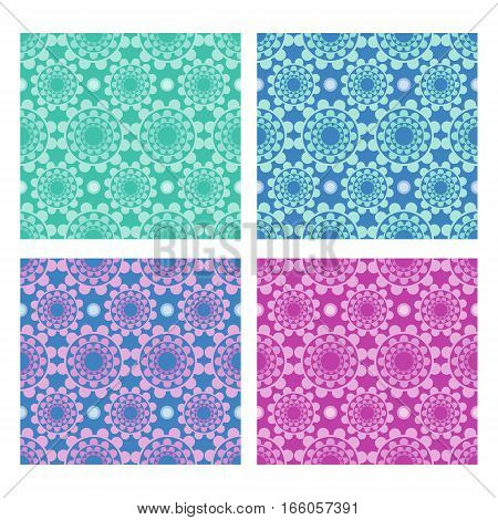 Set of folklore background with geometric flower shapes in different color variants textile swatch printing paper