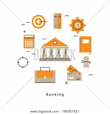 Online payment flat line business vector illustration design banner. Concepts for online banking, online shopping, bank wire transfer, internet money transfer, e-commerce for mobile and web graphics