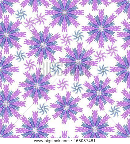 Blue and pink grabbed stars on white background seamless flower vector background beautiful floral ornament
