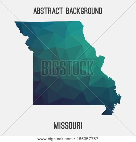 Missouri map in geometric polygonal,mosaic style.Abstract tessellation,modern design background,low poly. Vector illustration.