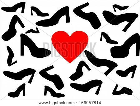 the background of shoes in different shapes