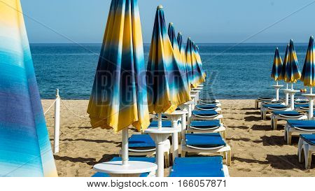 The umbrellas ready for the next summer