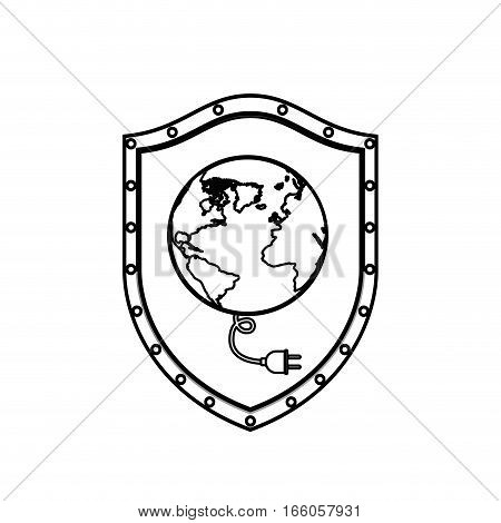 monochrome silhouette with shield with earth map world and power cord vector illustration