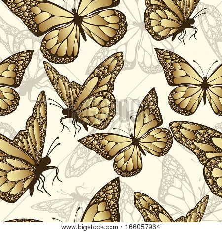 Golden butterfly seamless pattern. Luxury design expensive jewelry. Exotic patterned Insect. Golden and translucent wings a yellow background. Textiles fabric design wallpaper vector background