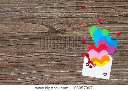 Birthday, Mother's Day Or Valentine Background. Heart From Paper Rainbow, Sending Love And Rosy Wish