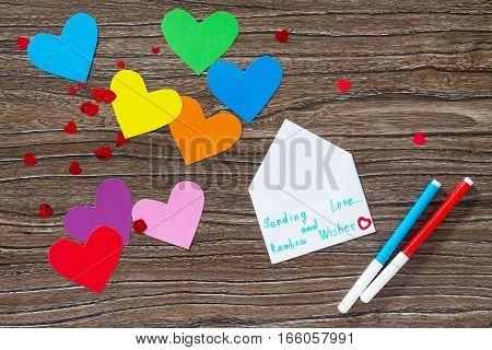 Greeting Frame Birthday, Mother's Day Or Valentine's Day. Heart From Paper Rainbow, Sending Love And