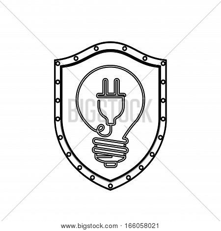 monochrome silhouette with shield with light bulb with filament power cord vector illustration