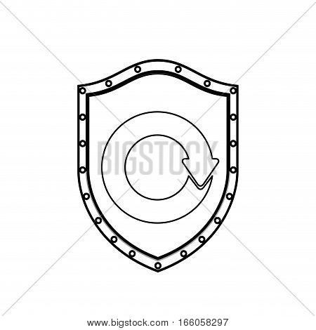 monochrome silhouette with shield with reuse symbol vector illustration