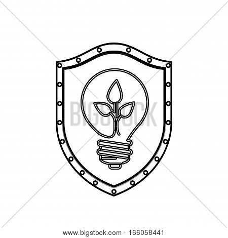 monochrome silhouette with shield with light bulb with filament leaves vector illustration