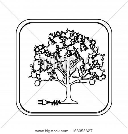monochrome square with tree with power cord vector illustration