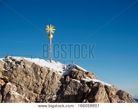 Sign On Top Of Zugspitze