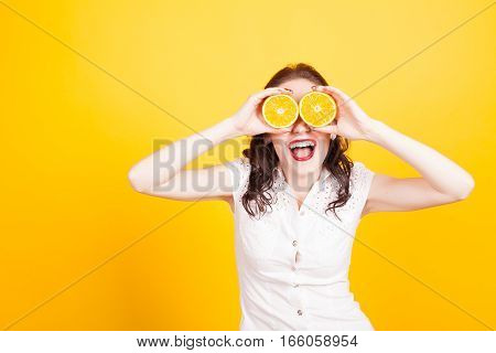 Orange girl closed her eyes yellow nice