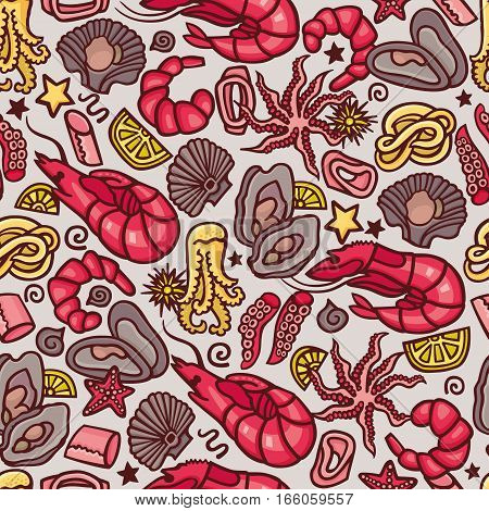 Seafood cocktail seamless pattern in vector. Cute hand drawn illustration of seafood including shrimps, oysters, crabs and calamari.