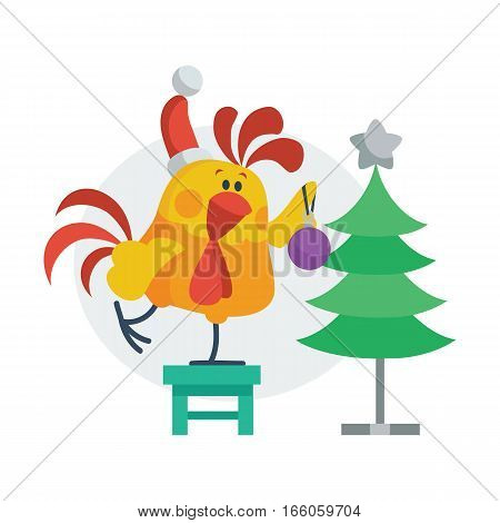 Rooster bird decorates christmas tree. Cock in Santa s hat with ball on the chair. Chinese calendar zodiac cock horoscope. Chicken character collection in flat. New year and xmas greeting card. Vector