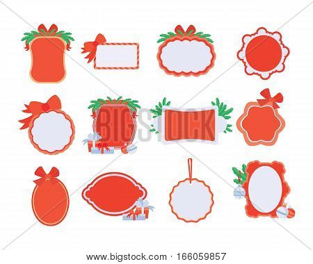 Collection of NewYear and Christmas sale stickers with place for your text. Winter xmas christmas night sale conceptual banners. Editable element for design. Big sale offer. Night sale. Vector