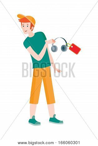 Discounts in electronics store concept. Smiling man standing with headphone bought on big sale flat vector illustration on white background. Shopping on home appliances sellout. For shop promotions ad