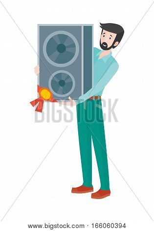 Discounts in electronics store concept. Smiling man standing with loudspeaker bought on sale flat vector illustration on white background. Shopping on home appliances sellout. For shop promotions ad