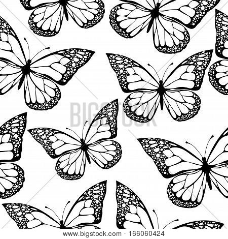 Butterflies Seamless Pattern, Monochrome, Coloring Book, Black And White Illustration In Boho Style,