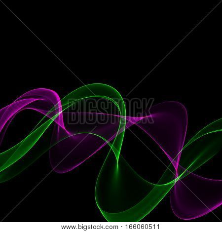 Abstract bright colorful purple and green fume on black background