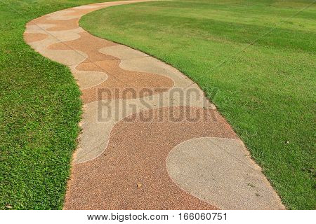 texture of walk way and green field