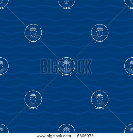 Seamless Pattern with a Liner Emblem on a Background of Waves, Cruise Ship in the Middle of a Rope on a Blue Background, Seamless Pattern with Marine Element for Web Design or Wallpaper or Fabric