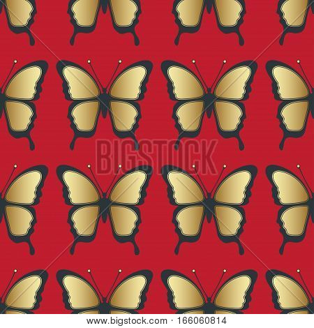 Golden Butterfly Seamless Pattern. Luxury Design, Expensive Jewelry. Exotic Patterned Insect, Repeat