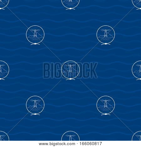 Seamless Pattern with a Lighthouse Emblem on a Background of Waves, Beacon in the Middle of a Rope on a Blue Background, Seamless Pattern with Marine Element for Web Design or Wallpaper or Fabric