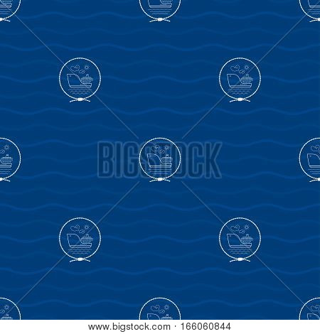 Seamless Pattern with a Cargo Ship Emblem on a Background of Waves, Barge in the Middle of a Rope on a Blue Background ,Seamless Pattern with Marine Element for Web Design or Wallpaper or Fabric